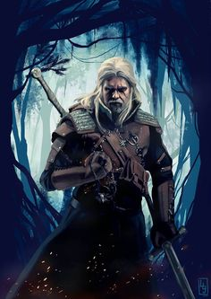 Geralt of Rivia, painting after a cosplay. #geralt #rivia #witcher #witcher3 #cosplay