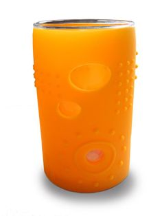 Siliskins 6oz glass tumbler for kids. Looks terrific, and the silicon sleeve keeps it from breaking.