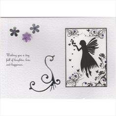 Birthday card fairy silhouette purple gems handmade hand crafted hand painted Listing in the Greeting Cards,Birthday,Occasions & Seasonal Category on eBid United Kingdom