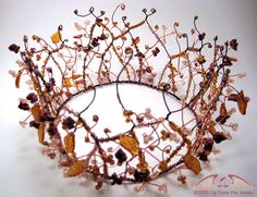 brown and copper artistic wire hand assembled with glass leaves, brown goldstone chips and glass E beads to make a supremely gorgeous head piece