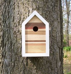 Modern Contemporary Reclaimed Wood Birdhouse / Nest Box / One-of-a-kind / 7 Species of Wood / Shipping Included SOLD
