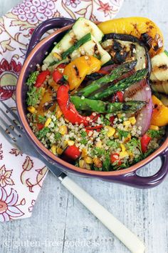 """Gorgeous gluten-free quinoa with grilled vegetables- perfect summer fare."""