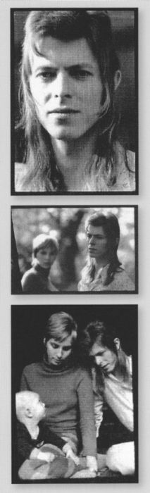 "Just before the Ziggy transformation was complete. David, Angie and Zowie Bowie, November 1971. photo source: Kevin Cann ""Any Day Now"""