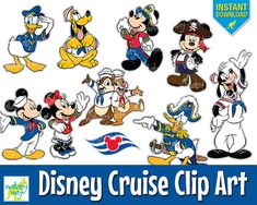 Disney Cruise Digital Clip Art with Mickey, Minnie, Donald, Pluto, Instant Download, Decorate you Fish Extender, or Stateroom Door