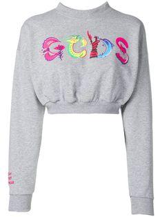 Gcds Logo Cropped Sweatshirt In Grey Cotton Logo, Sweater Design, Grey Sweatshirt, Cotton Sweater, Designing Women, Size Clothing, Sweaters For Women, Women Wear, Sweatshirts