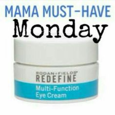 Rodan and fields **MAMA MUST HAVE MONDAY** REDEFINE Multi-Function Eye Cream A recommended addition to all Rodan+ Fields regimens. This peptide-enriched eye treatment combines collagen-stimulating and anti-inflammatory peptides to minimize the appearance of crow's feet, help reduce puffiness, and diminish dark under-eye circles. Optical diffusers instantly brighten eye area. Ask me how to save 10% and get free shipping Makeup Eye Primer