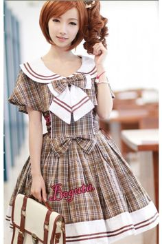College Style Gingham Lolita JSK Dress and Shawl 2 Colors