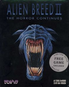 Alien Breed II: The Horror Continues Amiga box cover art - MobyGames All Video Games, Classic Video Games, Video Game Art, Star Citizen, Pc Engine, Old Games, Games Box, Box Art, Fantasy Characters