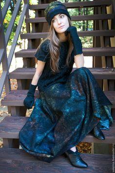 """Купить Юбка валяная """"ИГРА ТЕНЕЙ"""" - черный, абстрактный, юбка длинная, валяная юбка"""