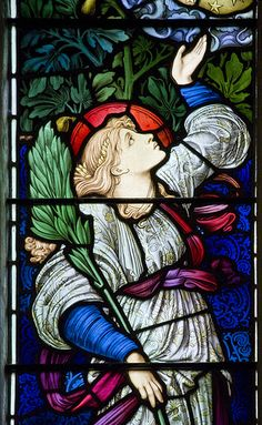 Hope. Detail from a window by Burne Jones in Buscot parish church. - #stainedglass #churchwindows