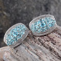 Madagascar Paraiba Apatite and White Topaz Earrings in Platinum Overlay Sterling Silver (Nickel Free)