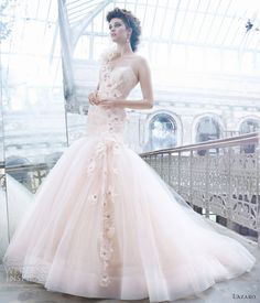 lazaro fall 2012 pink wedding dress tulle ball gown sweetheart elongated lace corset flowers crystal one shoulder chapel train 3259