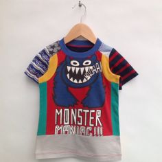 Size 2T /3T upcycled Boys Tshirt Monster by dressme on Etsy, $38.50