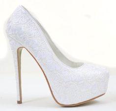 Lace Overlay Glitter Almond Toe Stiletto Platform Pump White