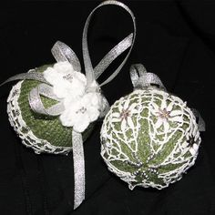 2 X Antique Lace Christmas Tree Baubles - Sage and White