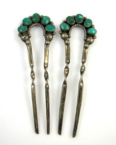 Old Pawn Navajo Sterling Silver Turquoise Hair Pins