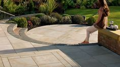 Trust Marshalls Fairstone sawn sandstone paving stones for your next patio or paving project - Get inspiration and find your local stockist here Back Garden Landscaping, Garden Paving, Indoor Plant Wall, Indoor Plants, Back Gardens, Small Gardens, Paving Design, Sandstone Paving, Courtyards