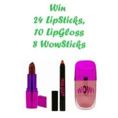 24 #LipSticks , 10 #LipGloss 8 #WowSticks ^_^ http://www.pintalabios.info/en/fashion_giveaways/view/en/2386 #International #MakeUp #bbloggers #Giweaway