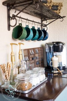 repurposed- barn wood shelves - coffee bar