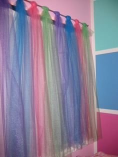 Tulle strips looped over a rod for a cute, colorful window treatment in a girl's room. Gives some privacy but still lets in the light. the light shining.the room light up colorful. could do this for the girls Girls Bedroom, Bedroom Decor, Bedroom Ideas, Bedrooms, Kids Decor, Diy Home Decor, Rainbow Bedroom, Princess Room, Daughters Room