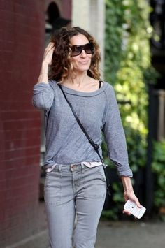 Sarah Jessica Parker in our Eco Grey Slouchy Pullover.