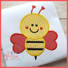 Valentine Honey Bee Machine Applique by cranberryridgedesign, $23.00