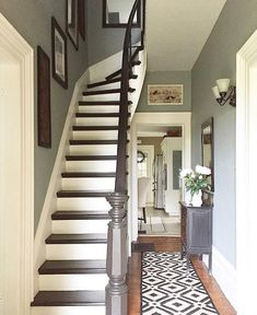 Stairs painted diy (Stairs ideas) Tags: How to Paint Stairs, Stairs painted art, painted stairs ideas, painted stairs ideas staircase makeover Stairs+painted+diy+staircase+makeover Hallway Colours, House Stairs, Hallway Decorating, Staircase Remodel, Home, Victorian Hallway, House Inspiration, Old Houses, Painted Stairs