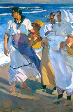 Landscape painting Valencian Fisherwomen Joaquin Sorolla y Bastida art reproduction High quality Hand painted Google Art Project, Spanish Painters, Spanish Artists, Figure Painting, Painting & Drawing, Painting Lessons, Paintings I Love, Oil Paintings, Fine Art