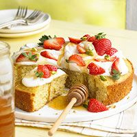 Pistachio-Honey Cake with Berries and Cream, from Better Homes & Gardens. Scratch.