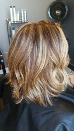 Love this color! Blonde Lob with highlights and lowlights by Brianna Thomas