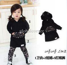 Black Hood Hoodies + Leopard Leggings+ Dress Three-piece Children's Outfits Girls Clothing Sets