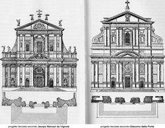 Vignola and Della Porta's facade designs for Il Gesu compared. Historical Architecture, Architecture Plan, Rural Studio, New College, Roman Art, Facade Design, Place Of Worship, Old Buildings, High Quality Images