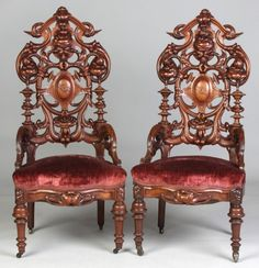 Antique Victorian Walnut Side Chairs, Highly Carved And Pierced With Center Crest
