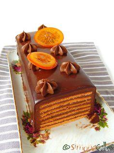 Tort Dobos cu portocale - un desert regal - simonacallas Romanian Food, Dessert Recipes, Desserts, Something Sweet, Mousse, Waffles, Bacon, Pudding, Cupcakes