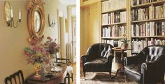 Distressed leather club chairs in the library of Martha Stewart's Turkey Hill home