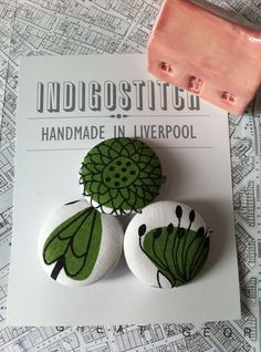 Botanic button badges  fabric covered  set of 3 by indigostitch, £4.00