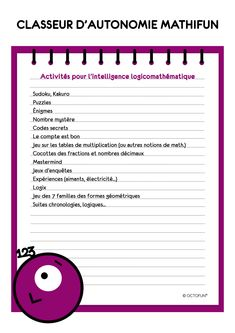 Classeurs d'autonomie | Fractions, Mind Up Curriculum, Self Concept, Knowledge Is Power, Growth Mindset, Classroom Management, Vocabulary, Back To School, Homeschool