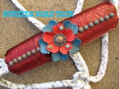 Red Croc Mule Tape Halter with Leather Flowers by Running Roan Tack Horse Halters, Horse Tips, Leather Flowers, Leather Projects, Horse Stuff, Leather Working, Paracord, Rodeo, Tack