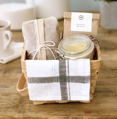 homemade banana bread, linen tea towel, fresh coffee beans and butter honey - the breakfast hostess gift idea