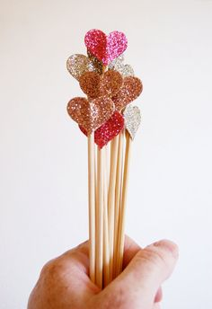 i like 'em a lot! (just think of all the shapes & colors you could create :]) --> Glitter Heart Cake Picks