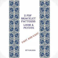 Easy bracelet pattern Beading instructions Fetial pattern Loom bracelet Peyote patterns Silver blue bracet Royal blue bracelet Beaded
