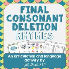 Target Final Consonant Deletion in a fun, engaging way with this interactive rhyming book! Includes mini flash cards/AAC page and a data collection page! Articulation Therapy, Articulation Activities, Speech Therapy Activities, Language Activities, Phonological Awareness Activities, Phonological Processes, Speech Language Therapy, Speech And Language, Speech Pathology
