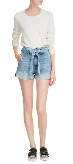 RAG & BONE Jillian Crew Neck Sweater SEVEN FOR ALL MANKIND Denim Shorts RAG & BONE Kent Leather Sneakers #Stylebop