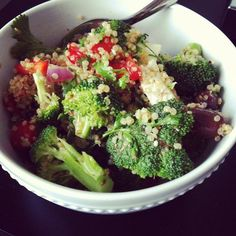 Mediterranean Quinoa and Broccoli Salad   2 cups cooked quinoa 2 cups broccoli,   1/2 cup red onion, finely chopped 1/2 cup black olives, pit removed 1/2 cup goat feta (optional) 1 cup red, orange or yellow peppers, chopped  Handful of fresh herbs such as basil, cilantro or dill  Dressing: 1 lemon, juiced 2 tsp Dijon mustard or grainy mustard 2 tsp honey or pure maple syrup 2 tbsp red wine vinegar 1/2 cup cold pressed extra virgin olive oil sea salt and pepper  FB/coachdaniellemckean