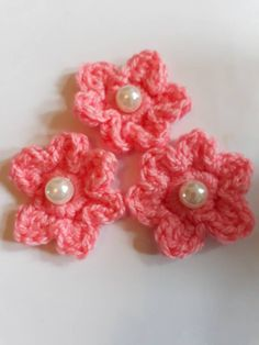 Handmade crochet pink flower applique, pink flowers with pearl centres, flower motifs, flowers for crafts by bootneckbabies on Etsy