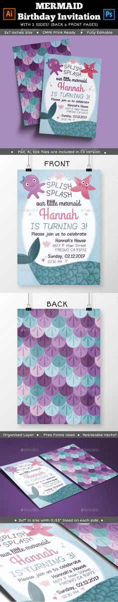 Mermaid Birthday Party Invitation Template PSD, Vector EPS, AI #design