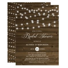 Country Rustic String Lights Wood Bridal Shower Invitation Bridal Luncheon Invitations, Whimsical Wedding Invitations, Couples Shower Invitations, Wedding Shower Invitations, Rehearsal Dinner Invitations, Engagement Party Invitations, Wedding Stationery, Engagement Parties, Wedding Rehearsal