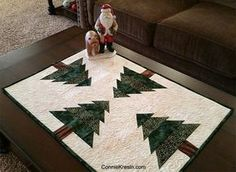 Also has link to regular sized table runner with specific directions for the trees. Christmas Tree On Table, Christmas Runner, All Things Christmas, Table Runner And Placemats, Table Runner Pattern, Quilted Table Runners, Christmas Sewing, Christmas Crafts, Christmas Decorations