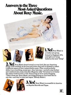 Reprise Records publicity for the U.S. issue of Roxy Music's first L.P.