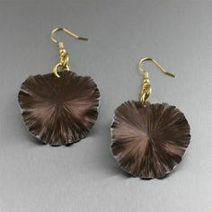 Handcrafted Fine Jewelry Blog by John S. Brana: Brown Anodized Aluminum Lily Pad Earrings - Medium